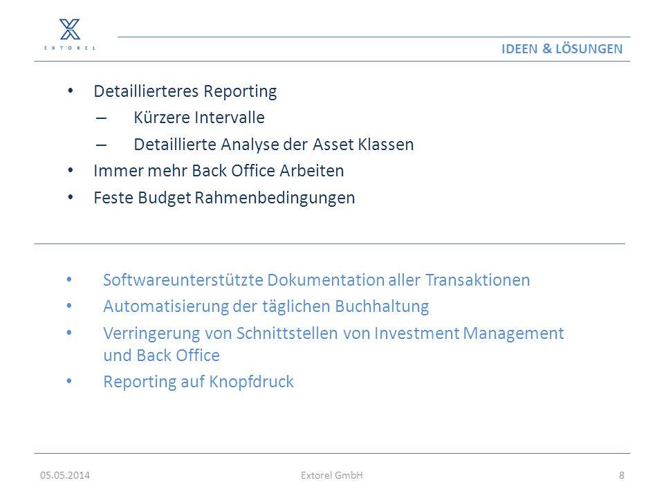 IDEEN & LÖSUNGEN Detaillierteres Reporting – Kürzere Intervalle – Detaillierte Analyse der Asset Klassen Immer mehr Back Office Arbeiten Feste Budget