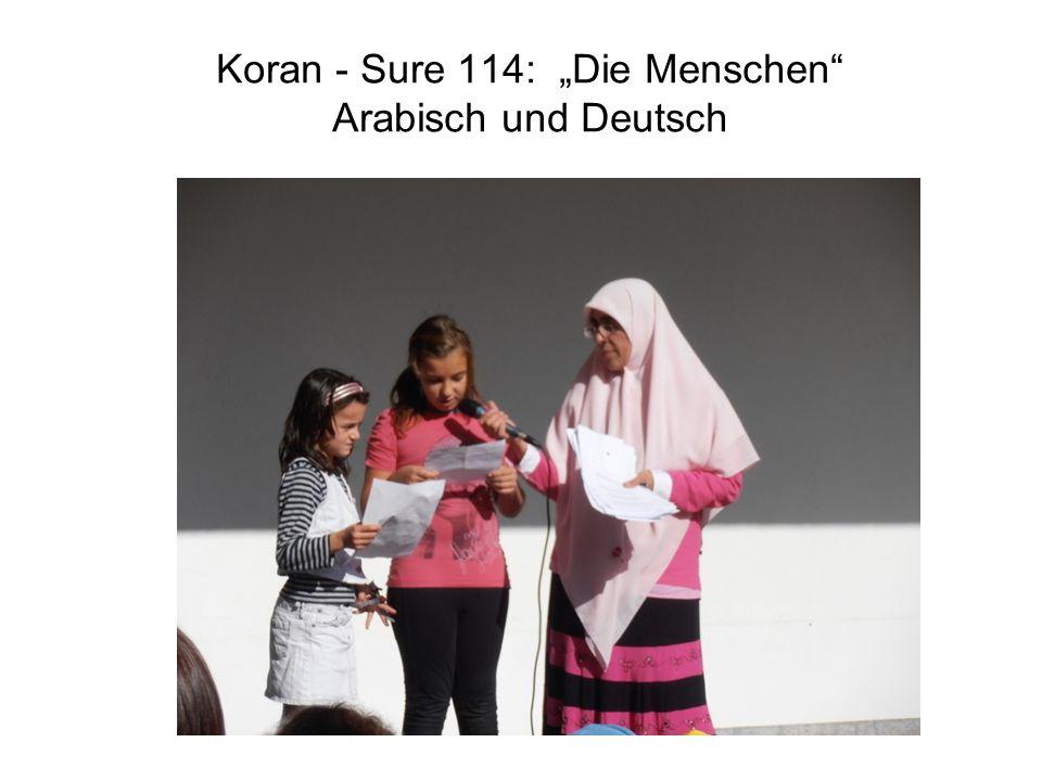 """Koran - Sure 114: """"Die Menschen"""" Arabisch und Deutsch"""