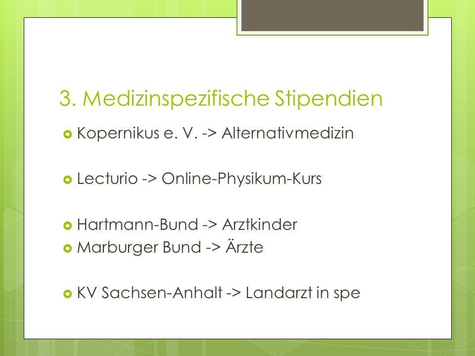 3. Medizinspezifische Stipendien  Kopernikus e. V.