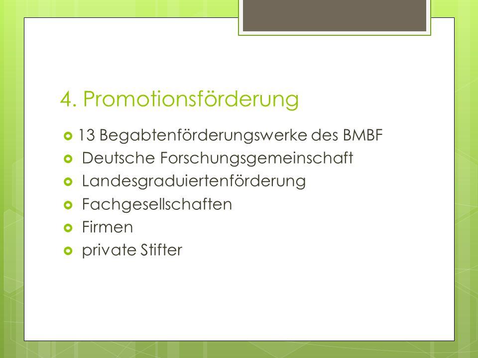 4. Promotionsförderung  13 Begabtenförderungswerke des BMBF  Deutsche Forschungsgemeinschaft  Landesgraduiertenförderung  Fachgesellschaften  Fir
