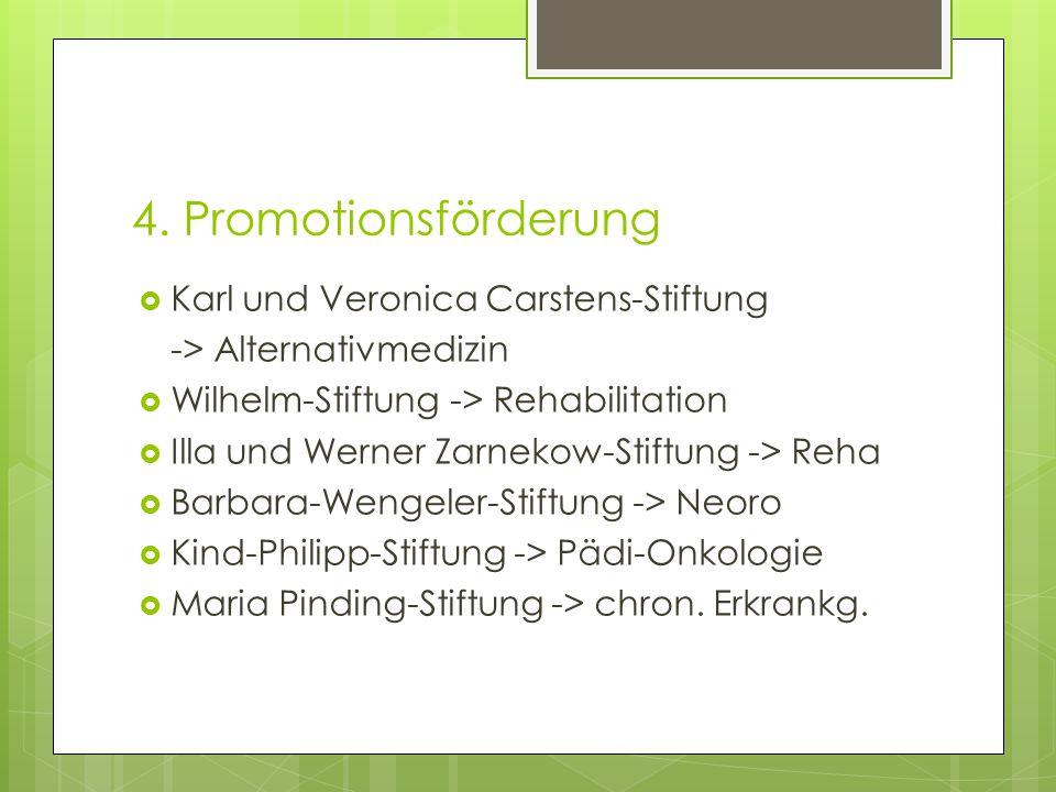 4. Promotionsförderung  Karl und Veronica Carstens-Stiftung -> Alternativmedizin  Wilhelm-Stiftung -> Rehabilitation  Illa und Werner Zarnekow-Stif