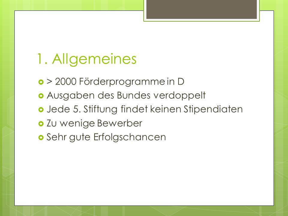1. Allgemeines  > 2000 Förderprogramme in D  Ausgaben des Bundes verdoppelt  Jede 5.