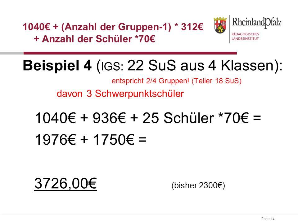 Folie 14 Beispiel 4 ( IGS: 22 SuS aus 4 Klassen): entspricht 2/4 Gruppen! (Teiler 18 SuS) 1040€ + 936€ + 25 Schüler *70€ = 1976€ + 1750€ = 3726,00€ (b