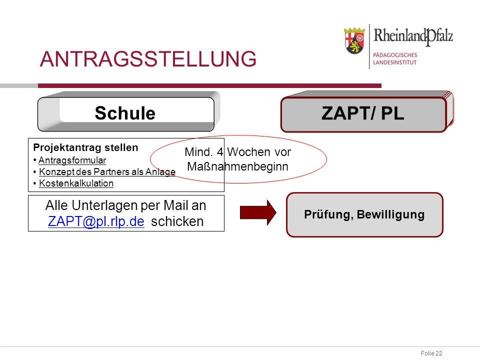 Folie 22 Projektantrag stellen Antragsformular Konzept des Partners als Anlage Kostenkalkulation Prüfung, Bewilligung Alle Unterlagen per Mail an ZAPT