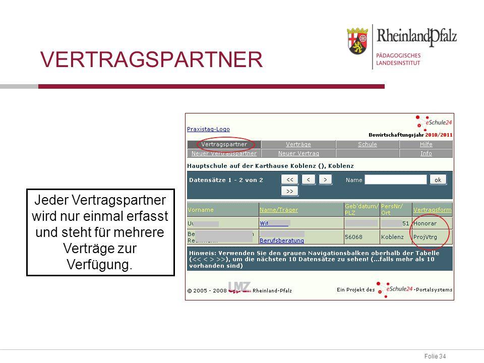 Folie 34 Jeder Vertragspartner wird nur einmal erfasst und steht für mehrere Verträge zur Verfügung. VERTRAGSPARTNER