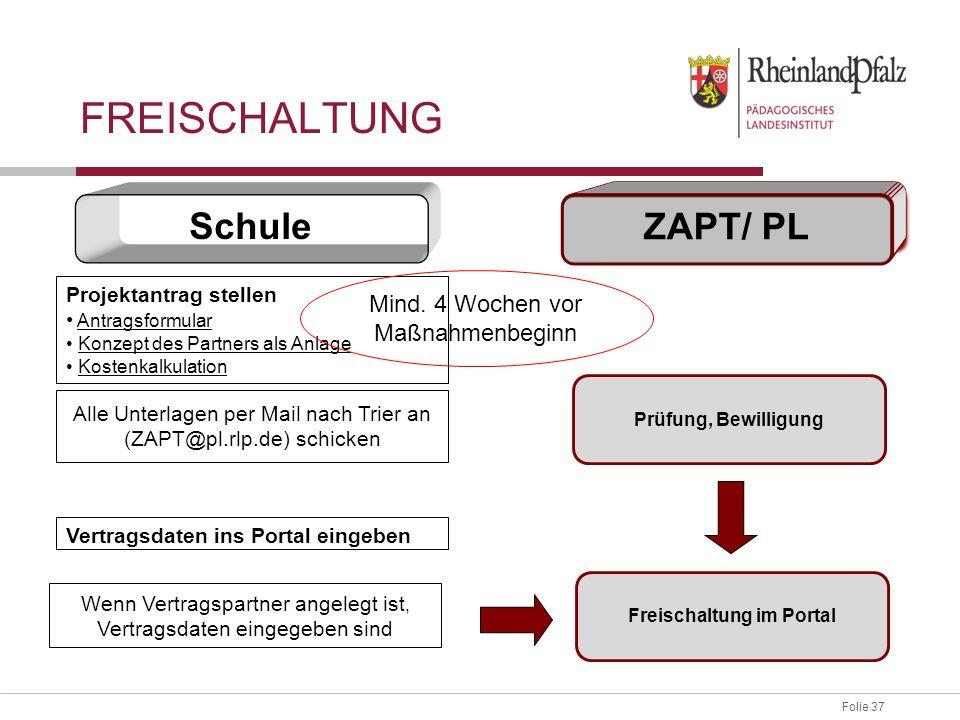 Folie 37 Vertragsdaten ins Portal eingeben Wenn Vertragspartner angelegt ist, Vertragsdaten eingegeben sind Freischaltung im Portal Schule ZAPT/ PL FR