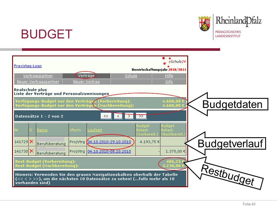 Folie 40 BUDGET Budgetdaten Budgetverlauf Restbudget