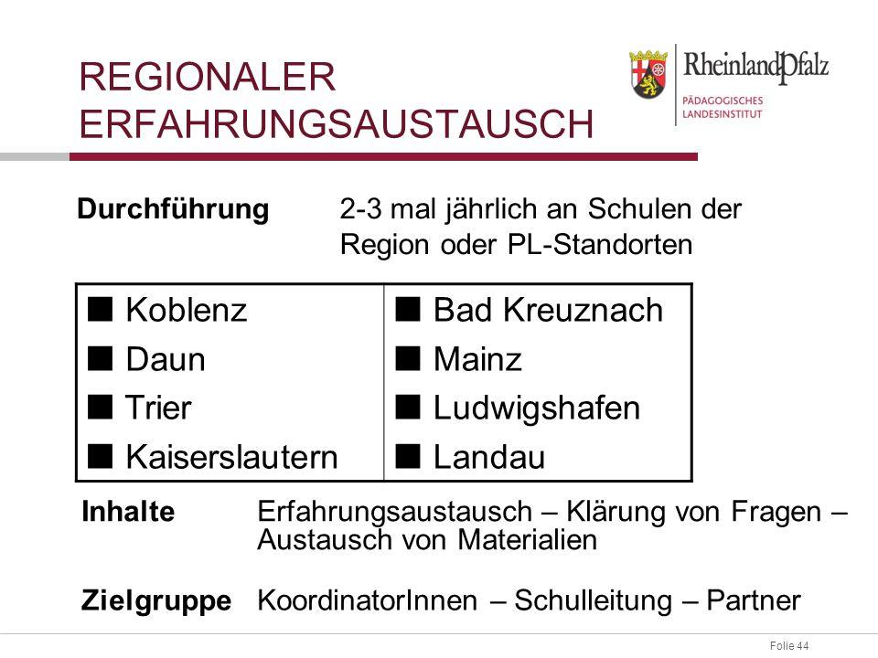 Folie 44 REGIONALER ERFAHRUNGSAUSTAUSCH Durchführung2-3 mal jährlich an Schulen der Region oder PL-Standorten Koblenz Daun Trier Kaiserslautern Bad Kr