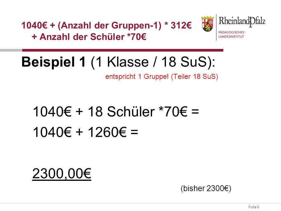 Folie 9 Beispiel 1 (1 Klasse / 18 SuS): entspricht 1 Gruppe! (Teiler 18 SuS) 1040€ + 18 Schüler *70€ = 1040€ + 1260€ = 2300,00€ (bisher 2300€) 1040€ +