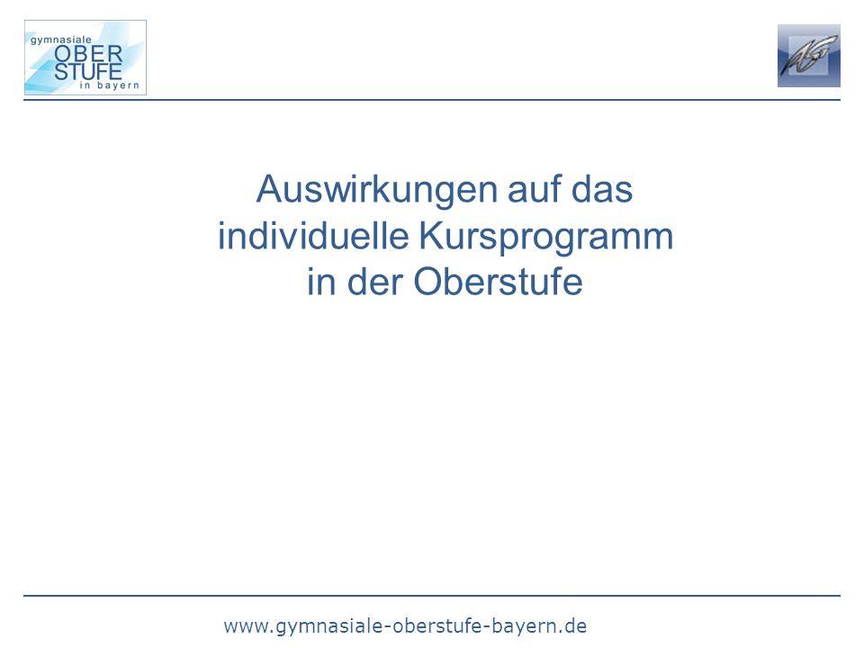www.gymnasiale-oberstufe-bayern.de Auswirkungen auf das individuelle Kursprogramm in der Oberstufe
