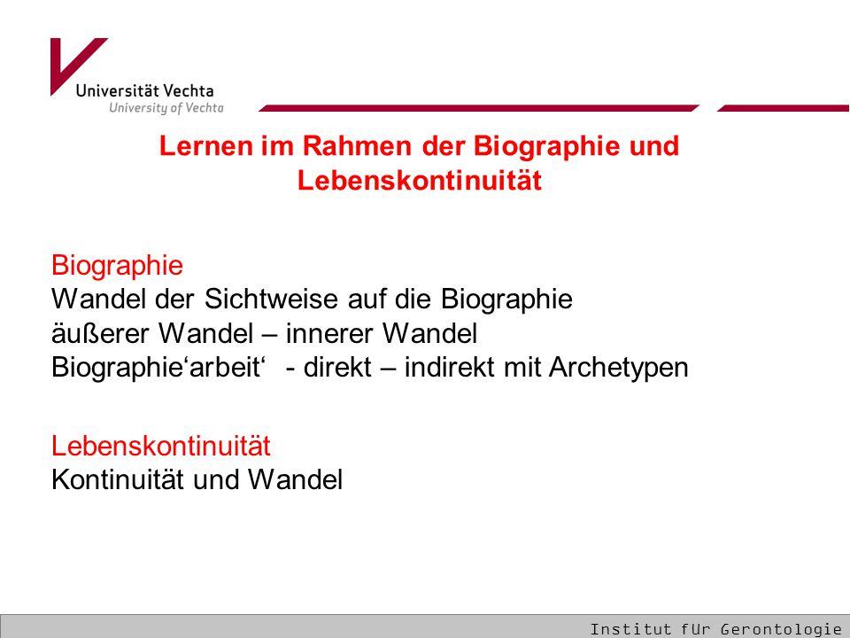 Biographie Wandel der Sichtweise auf die Biographie äußerer Wandel – innerer Wandel Biographie'arbeit' - direkt – indirekt mit Archetypen Lebenskontin