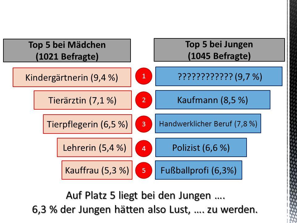 Auf Platz 5 liegt bei den Jungen …. 6,3 % der Jungen hätten also Lust, …. zu werden. Tierärztin (7,1 %) Tierpflegerin (6,5 %) Lehrerin (5,4 %) Kauffra
