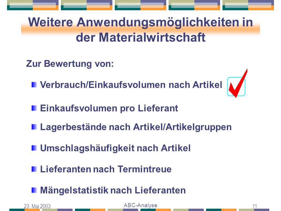 23. Mai 2003 ABC-Analyse 11 Weitere Anwendungsmöglichkeiten in der Materialwirtschaft Verbrauch/Einkaufsvolumen nach Artikel Einkaufsvolumen pro Liefe