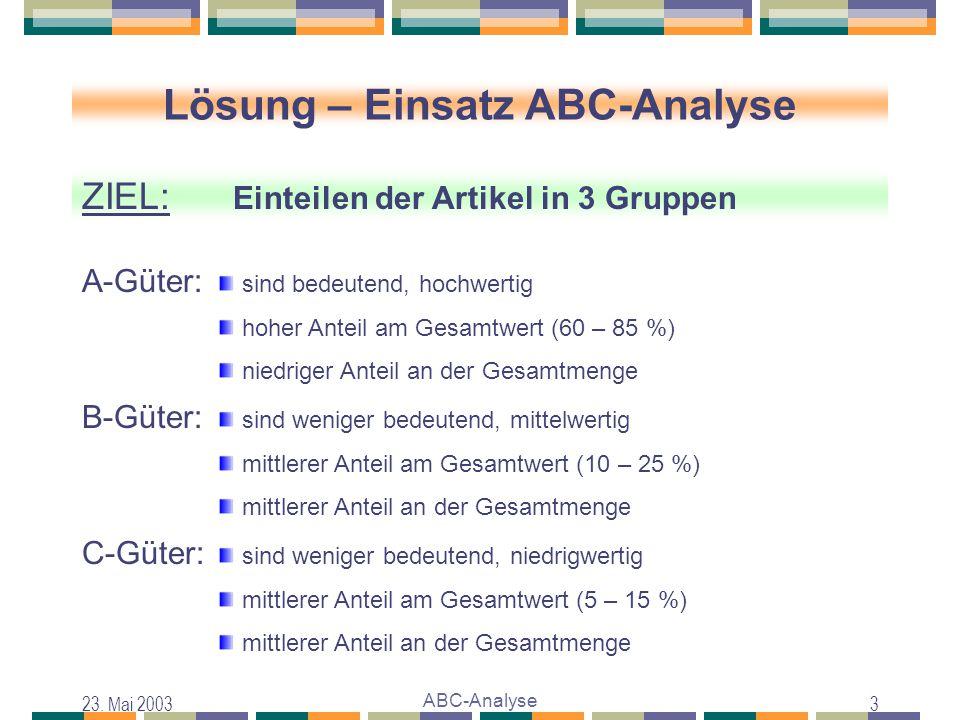 23. Mai 2003 ABC-Analyse 3 Lösung – Einsatz ABC-Analyse ZIEL: Einteilen der Artikel in 3 Gruppen sind bedeutend, hochwertig hoher Anteil am Gesamtwert
