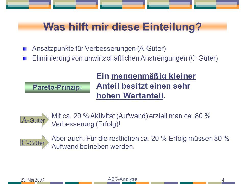 23. Mai 2003 ABC-Analyse 4 Was hilft mir diese Einteilung? Ansatzpunkte für Verbesserungen (A-Güter) Eliminierung von unwirtschaftlichen Anstrengungen