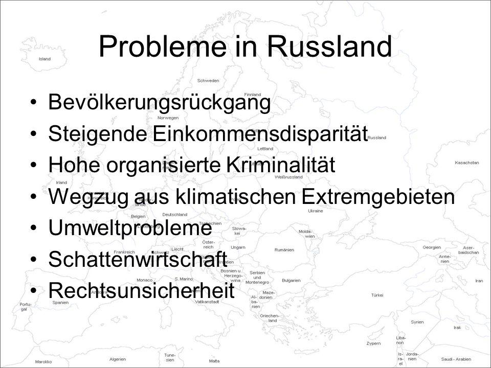 Probleme in Russland Bevölkerungsrückgang Steigende Einkommensdisparität Hohe organisierte Kriminalität Wegzug aus klimatischen Extremgebieten Umweltprobleme Schattenwirtschaft Rechtsunsicherheit
