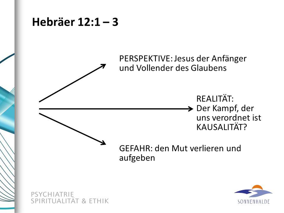 Hebräer 12:1 – 3 REALITÄT: Der Kampf, der uns verordnet ist KAUSALITÄT? PERSPEKTIVE: Jesus der Anfänger und Vollender des Glaubens GEFAHR: den Mut ver