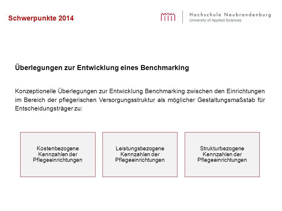 Schwerpunkte 2014 Überlegungen zur Entwicklung eines Benchmarking Konzeptionelle Überlegungen zur Entwicklung Benchmarking zwischen den Einrichtungen