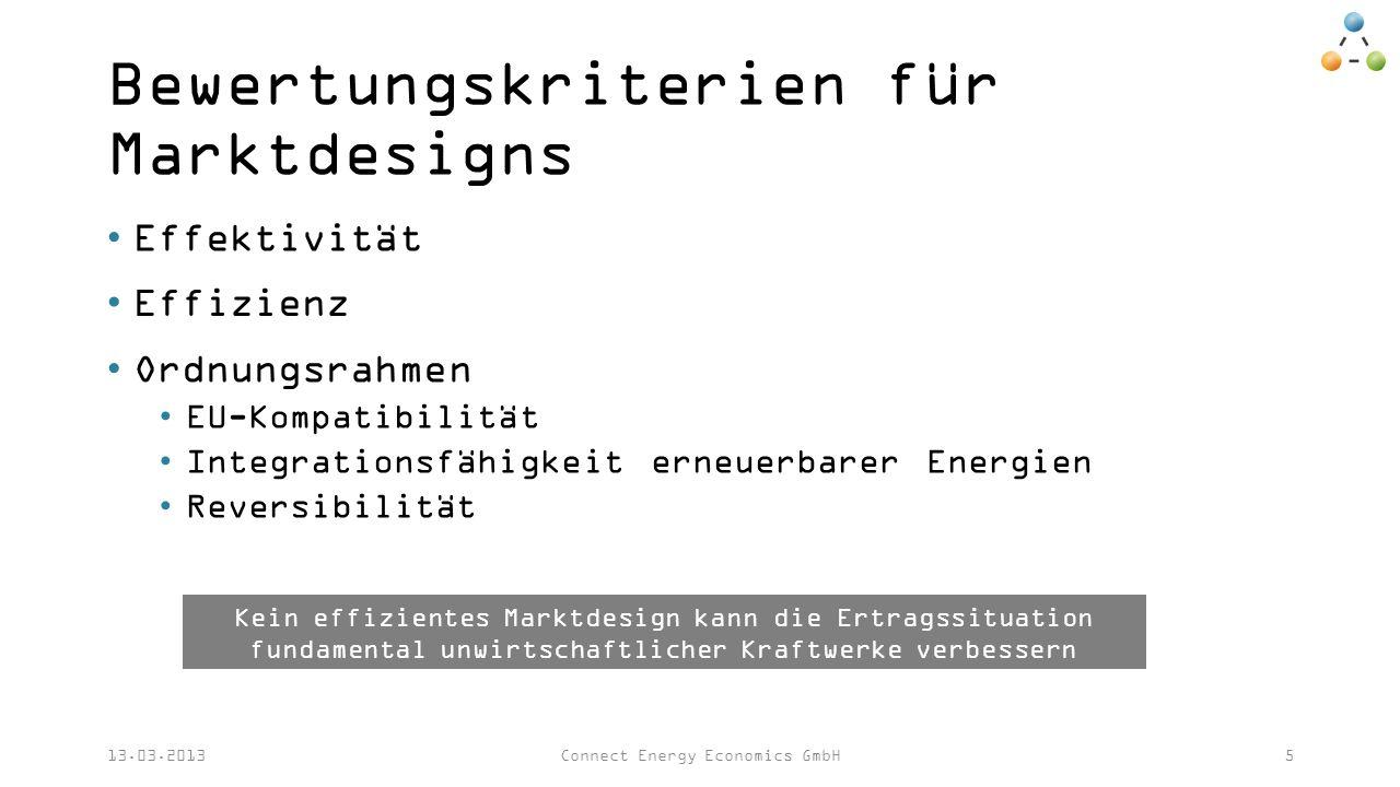 Bewertungskriterien für Marktdesigns Effektivität 13.03.2013Connect Energy Economics GmbH5 Effizienz Ordnungsrahmen EU-Kompatibilität Integrationsfähigkeit erneuerbarer Energien Reversibilität Kein effizientes Marktdesign kann die Ertragssituation fundamental unwirtschaftlicher Kraftwerke verbessern