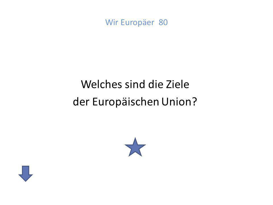 Antwort: Wir Europäer 80 Ziele der Union sind: - Frieden zu sichern - Wirtschaft zu stärken