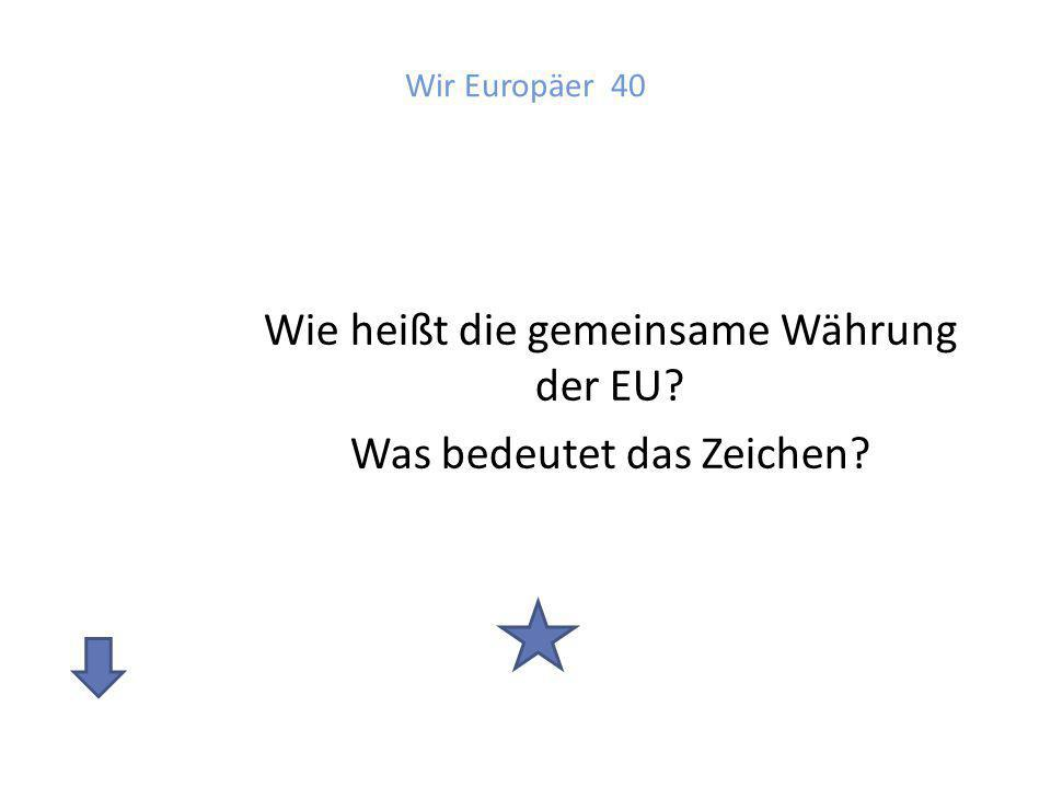 Antwort: Wir Europäer 40 Euro Das Zeichen ist an den griechischen Buchstaben Epsilon angelehnt und verweist auf die Wiege der europäischen Kultur.