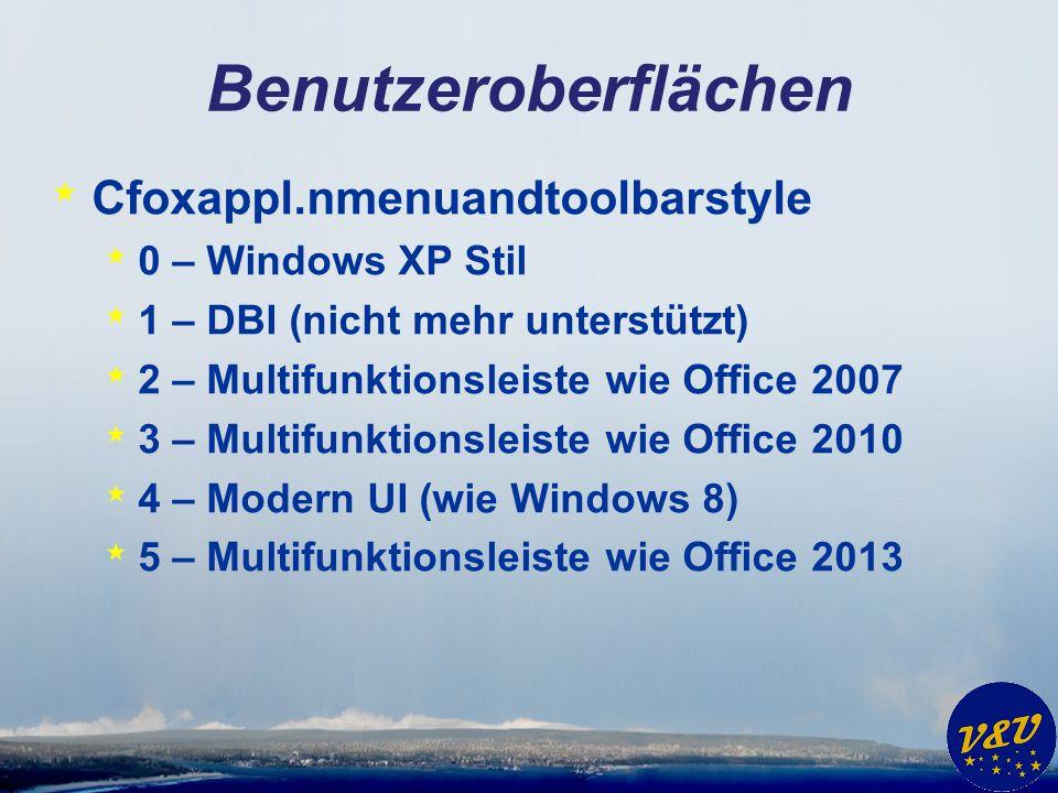 * Cfoxappl.nmenuandtoolbarstyle * 0 – Windows XP Stil * 1 – DBI (nicht mehr unterstützt) * 2 – Multifunktionsleiste wie Office 2007 * 3 – Multifunktio