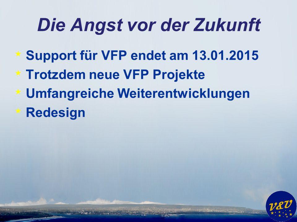 Die Angst vor der Zukunft * Support für VFP endet am 13.01.2015 * Trotzdem neue VFP Projekte * Umfangreiche Weiterentwicklungen * Redesign