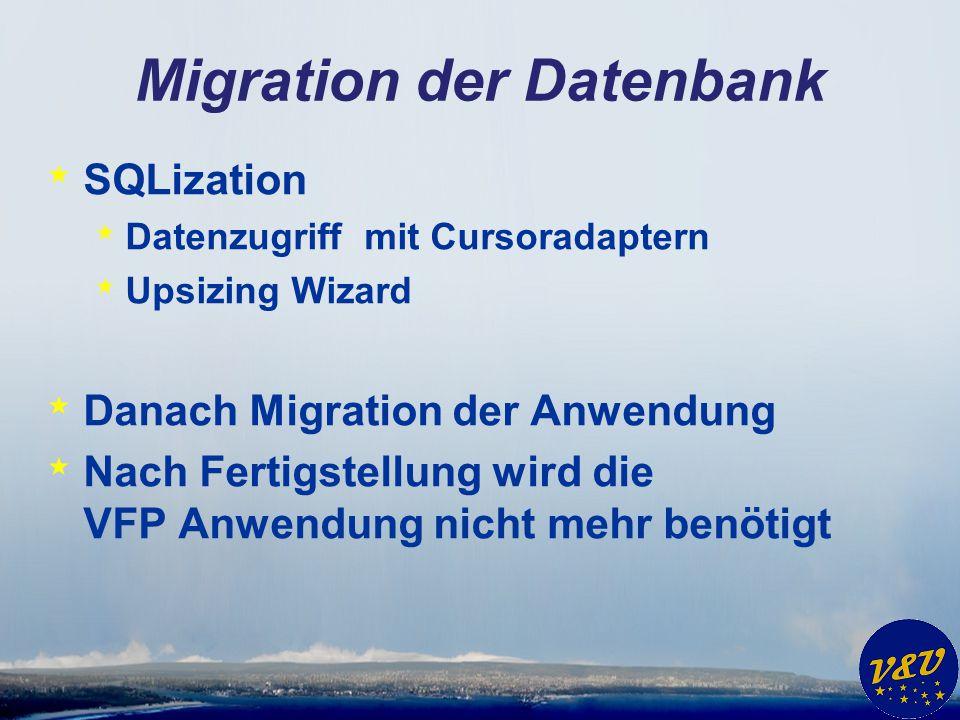 Migration der Anwendung * Datenbank wird weiterhin verwendet * Neue Anwendung * Silverlight * WPF * Windows 8 * … * Datenzugriff mit VFP COM Server * Umstellung auf andere Datenbank nach Fertigstellung der Anwendung