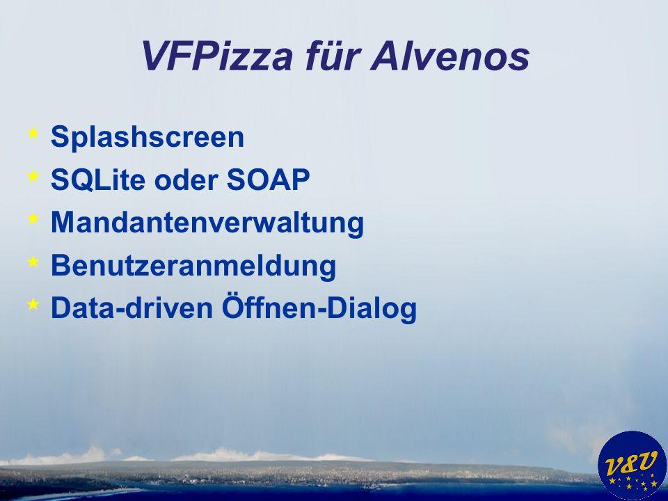 VFPizza für Alvenos * Splashscreen * SQLite oder SOAP * Mandantenverwaltung * Benutzeranmeldung * Data-driven Öffnen-Dialog