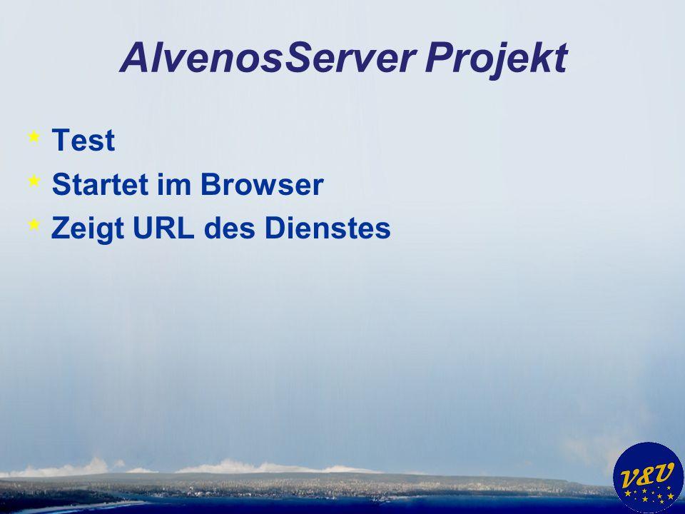 AlvenosServer Projekt * Test * Startet im Browser * Zeigt URL des Dienstes