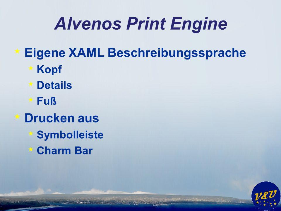 Alvenos Print Engine * Eigene XAML Beschreibungssprache * Kopf * Details * Fuß * Drucken aus * Symbolleiste * Charm Bar