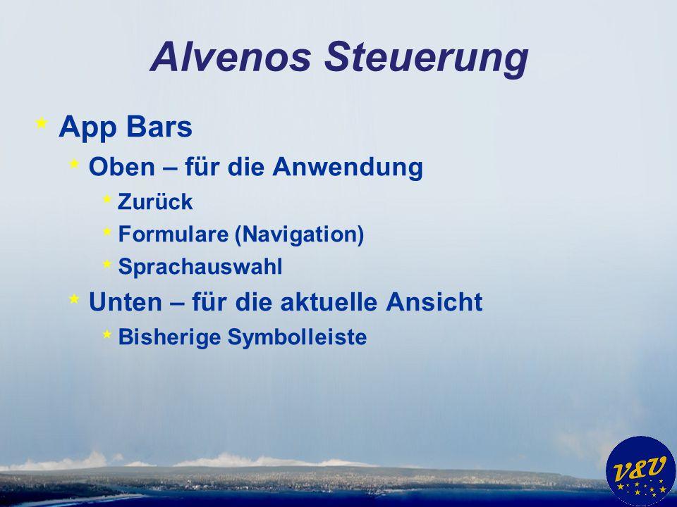 Alvenos Steuerung * App Bars * Oben – für die Anwendung * Zurück * Formulare (Navigation) * Sprachauswahl * Unten – für die aktuelle Ansicht * Bisheri