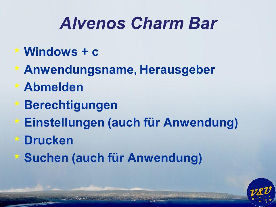 Alvenos Charm Bar * Windows + c * Anwendungsname, Herausgeber * Abmelden * Berechtigungen * Einstellungen (auch für Anwendung) * Drucken * Suchen (auc