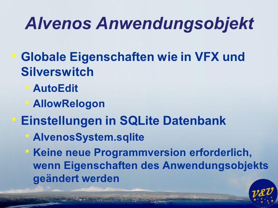 Alvenos Anwendungsobjekt * Globale Eigenschaften wie in VFX und Silverswitch * AutoEdit * AllowRelogon * Einstellungen in SQLite Datenbank * AlvenosSystem.sqlite * Keine neue Programmversion erforderlich, wenn Eigenschaften des Anwendungsobjekts geändert werden