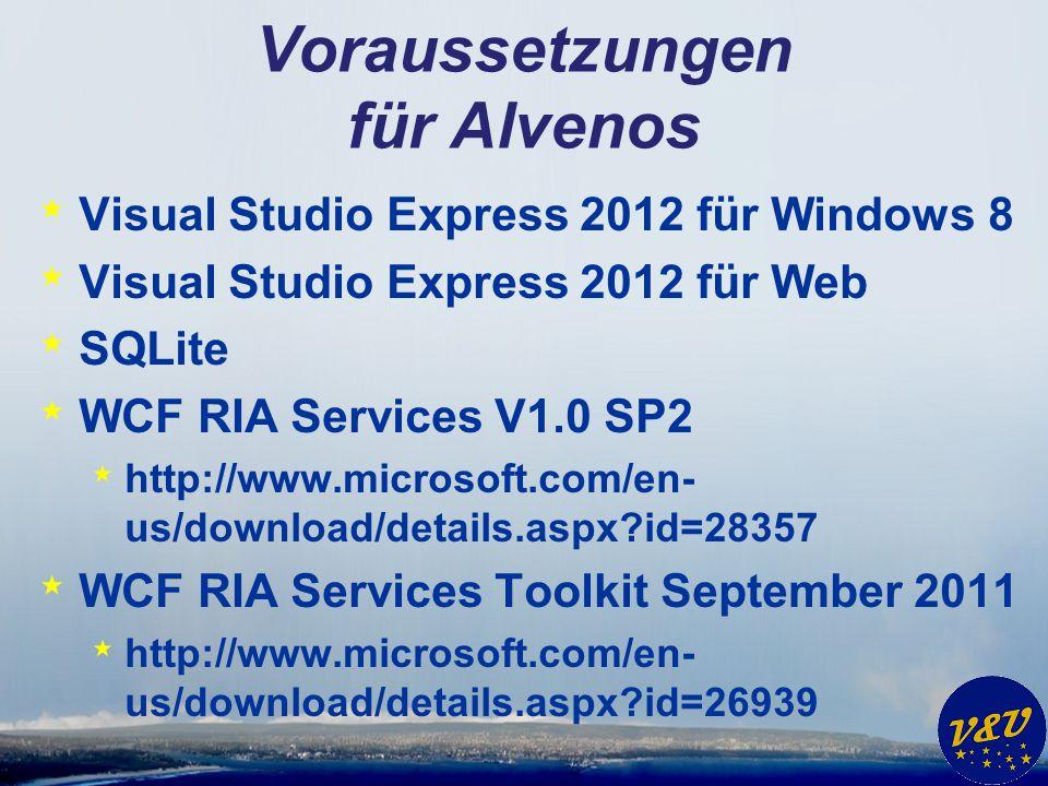 Voraussetzungen für Alvenos * Visual Studio Express 2012 für Windows 8 * Visual Studio Express 2012 für Web * SQLite * WCF RIA Services V1.0 SP2 * http://www.microsoft.com/en- us/download/details.aspx?id=28357 * WCF RIA Services Toolkit September 2011 * http://www.microsoft.com/en- us/download/details.aspx?id=26939