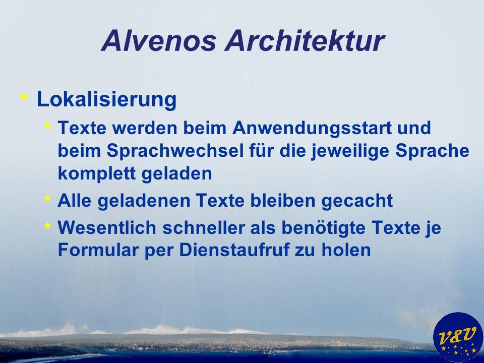Alvenos Architektur * Lokalisierung * Texte werden beim Anwendungsstart und beim Sprachwechsel für die jeweilige Sprache komplett geladen * Alle geladenen Texte bleiben gecacht * Wesentlich schneller als benötigte Texte je Formular per Dienstaufruf zu holen