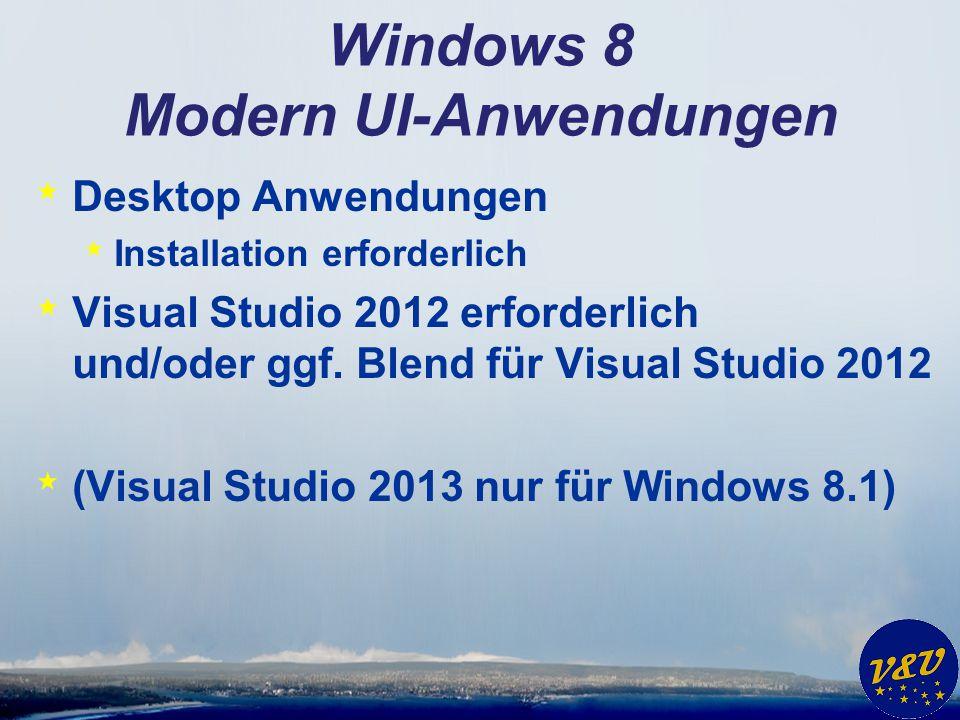 Windows 8 Modern UI-Anwendungen * Desktop Anwendungen * Installation erforderlich * Visual Studio 2012 erforderlich und/oder ggf. Blend für Visual Stu