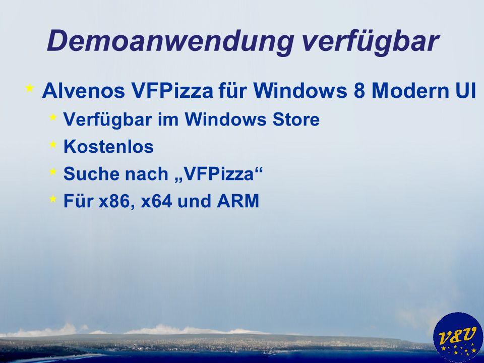 """Demoanwendung verfügbar * Alvenos VFPizza für Windows 8 Modern UI * Verfügbar im Windows Store * Kostenlos * Suche nach """"VFPizza"""" * Für x86, x64 und A"""