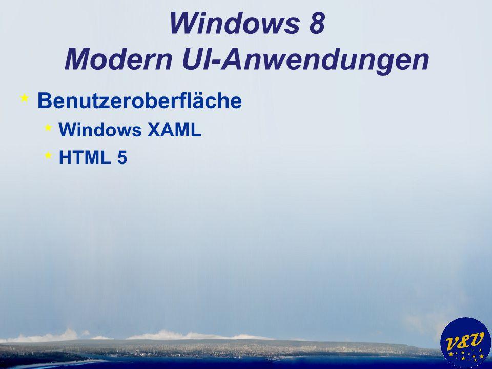 Windows 8 Modern UI-Anwendungen * Programmiersprachen * C# * C++ * VB * Javascript