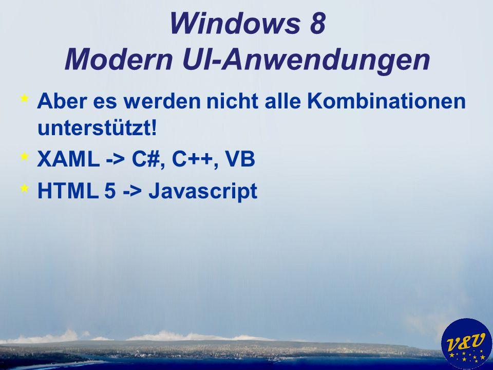 Windows 8 Modern UI-Anwendungen * Aber es werden nicht alle Kombinationen unterstützt! * XAML -> C#, C++, VB * HTML 5 -> Javascript