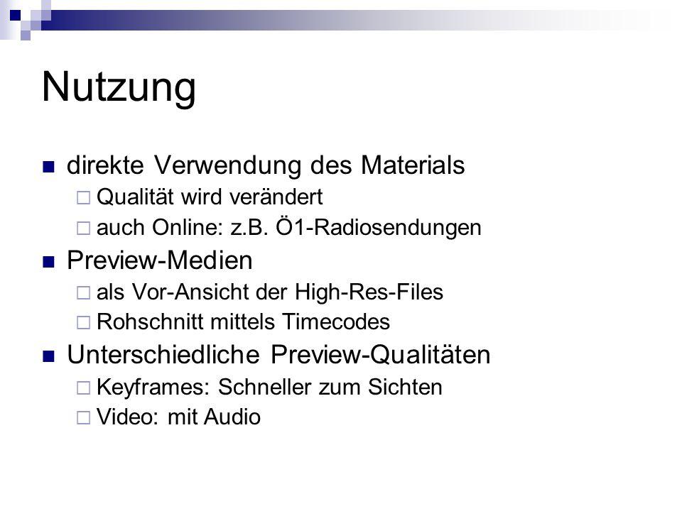 Nutzung direkte Verwendung des Materials  Qualität wird verändert  auch Online: z.B.