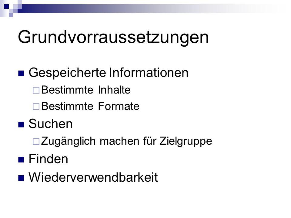 Grundvorraussetzungen Gespeicherte Informationen Suchen Finden  Suchen ≠ Finden  Zufallstreffer: z.B.