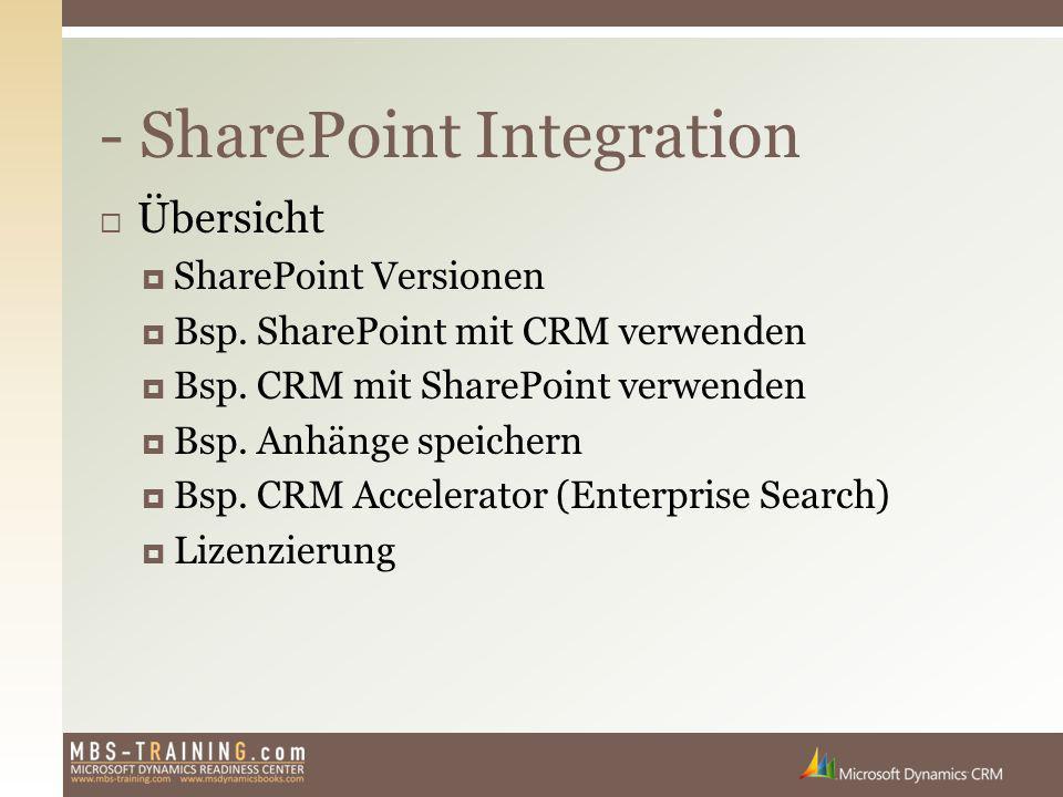  Übersicht  SharePoint Versionen  Bsp. SharePoint mit CRM verwenden  Bsp. CRM mit SharePoint verwenden  Bsp. Anhänge speichern  Bsp. CRM Acceler
