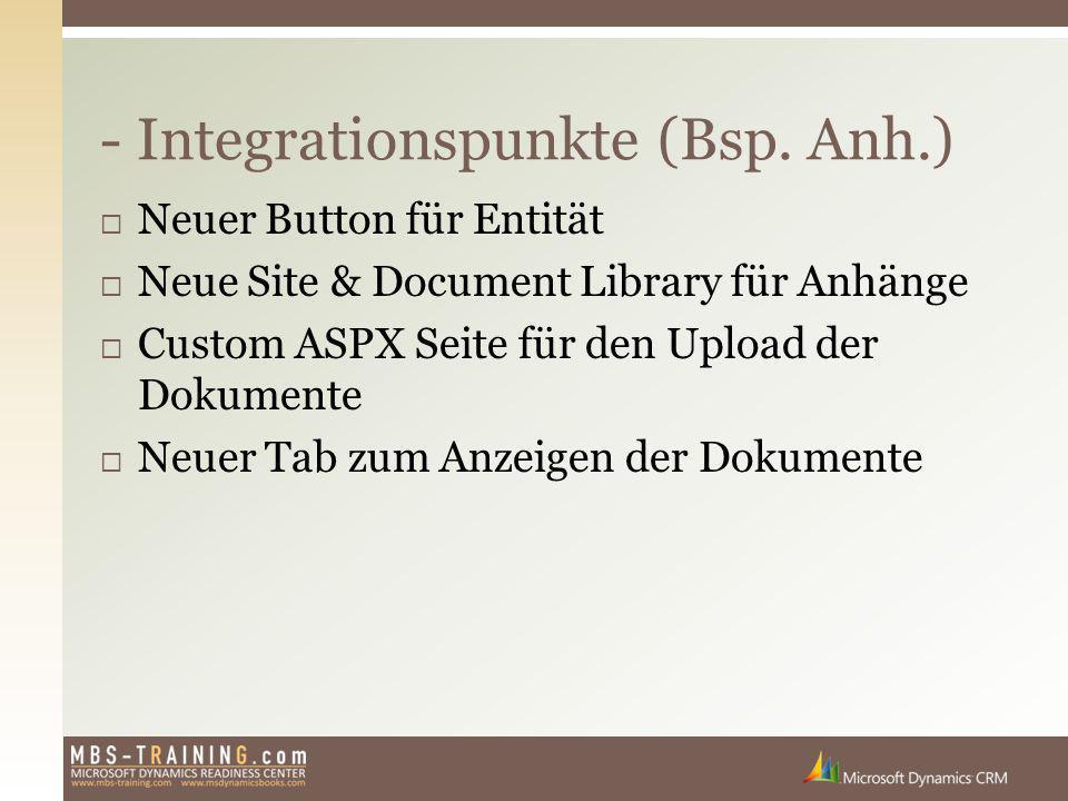  Neuer Button für Entität  Neue Site & Document Library für Anhänge  Custom ASPX Seite für den Upload der Dokumente  Neuer Tab zum Anzeigen der Do