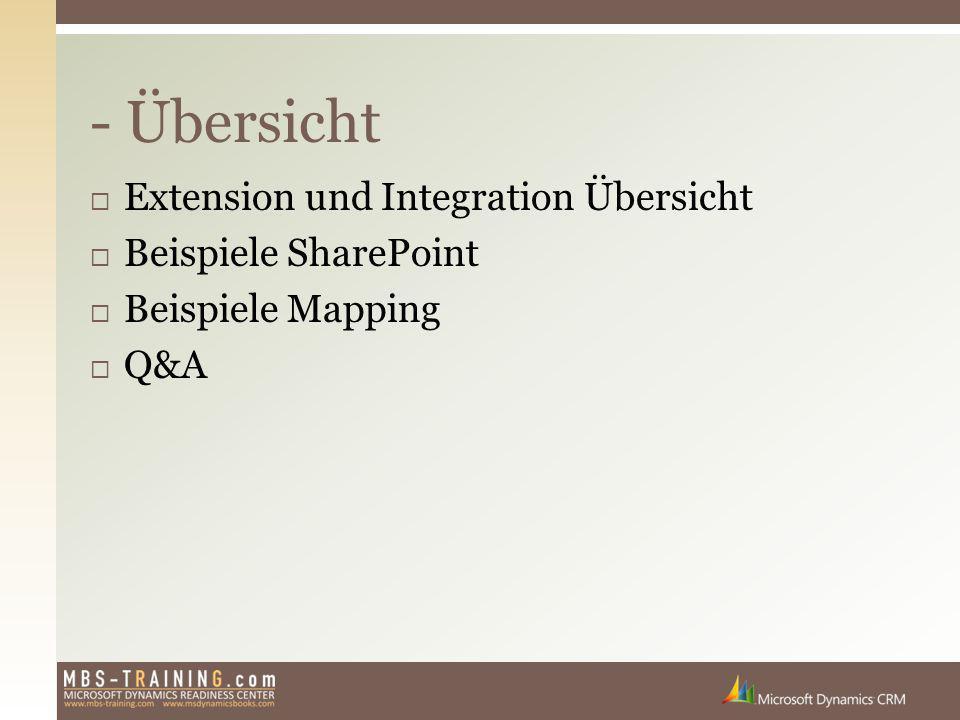  Extension und Integration Übersicht  Beispiele SharePoint  Beispiele Mapping  Q&A - Übersicht