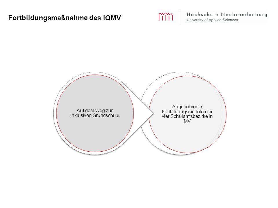 Fortbildungsmaßnahme des IQMV Angebot von 5 Fortbildungsmodulen für vier Schulamtsbezirke in MV Auf dem Weg zur inklusiven Grundschule