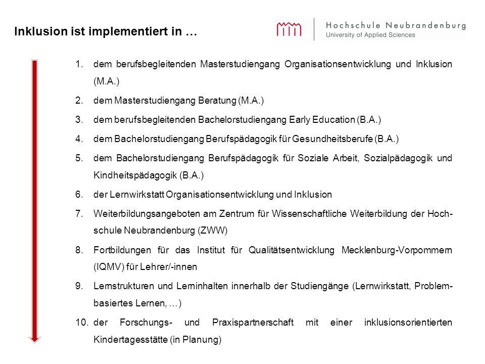 Inklusion ist implementiert in … 1.dem berufsbegleitenden Masterstudiengang Organisationsentwicklung und Inklusion (M.A.) 2.dem Masterstudiengang Beratung (M.A.) 3.dem berufsbegleitenden Bachelorstudiengang Early Education (B.A.) 4.dem Bachelorstudiengang Berufspädagogik für Gesundheitsberufe (B.A.) 5.dem Bachelorstudiengang Berufspädagogik für Soziale Arbeit, Sozialpädagogik und Kindheitspädagogik (B.A.) 6.der Lernwirkstatt Organisationsentwicklung und Inklusion 7.Weiterbildungsangeboten am Zentrum für Wissenschaftliche Weiterbildung der Hoch- schule Neubrandenburg (ZWW) 8.Fortbildungen für das Institut für Qualitätsentwicklung Mecklenburg-Vorpommern (IQMV) für Lehrer/-innen 9.Lernstrukturen und Lerninhalten innerhalb der Studiengänge (Lernwirkstatt, Problem- basiertes Lernen, …) 10.der Forschungs- und Praxispartnerschaft mit einer inklusionsorientierten Kindertagesstätte (in Planung)