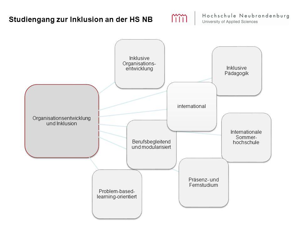 Studiengang zur Inklusion an der HS NB Organisationsentwicklung und Inklusion Inklusive Organisations- entwicklung Inklusive Pädagogik Internationale