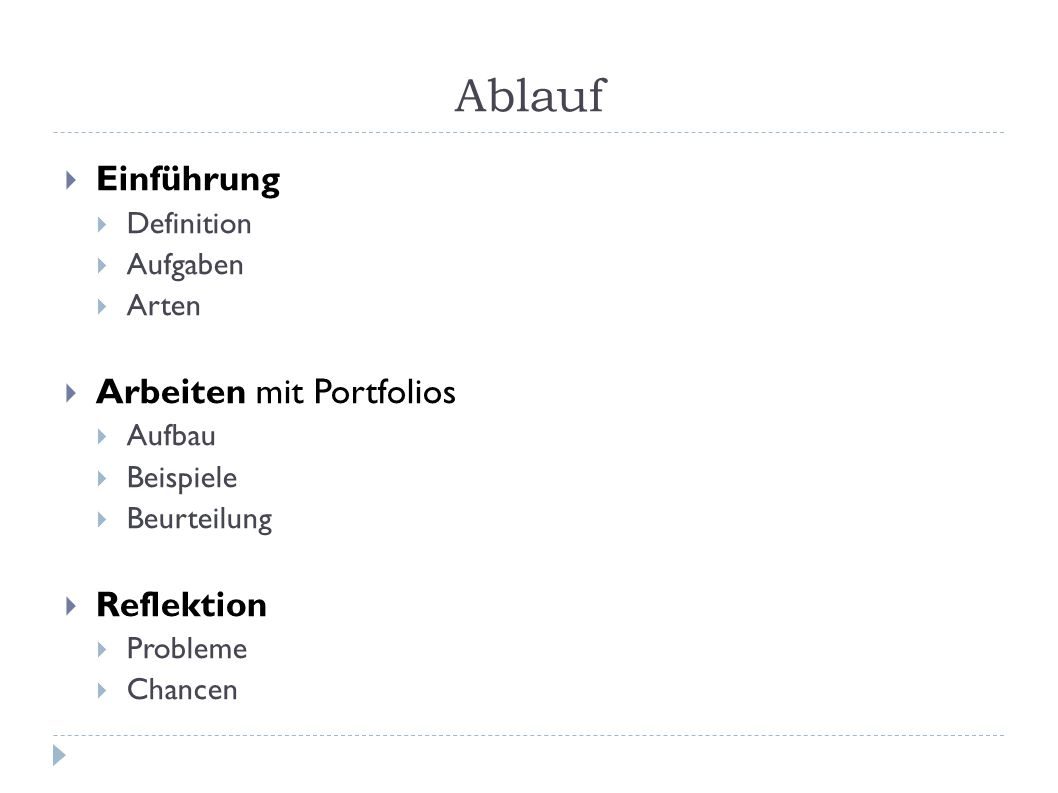 Was ist ein Portfolio.Definition (nach H.