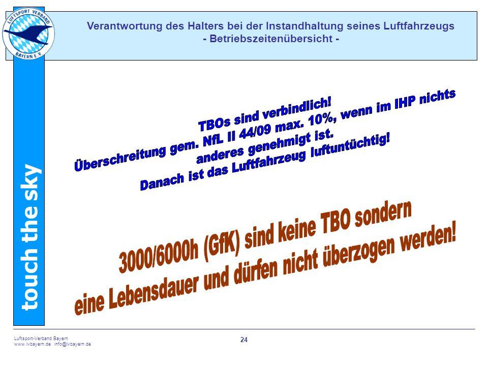 touch the sky Luftsport-Verband Bayern www.lvbayern.de info@lvbayern.de 24 Verantwortung des Halters bei der Instandhaltung seines Luftfahrzeugs - Bet